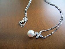"Vintage 14k White Gold Diamond & White  Pearl 7 mm Pendant/Necklace 17"""