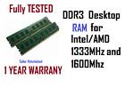 4GB DDR3 Desktop RAM Memory PC3 PC3L 1600 1333 DIMM 12800 10600 Various Brands