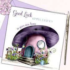 Personalised New Home Moving House Good Luck Card (Purple Mushroom) w butterfly