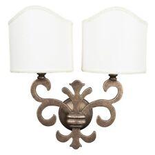 Applique Lampada GIGLIO FIORENTINO ventola ottone e pergamena a 2 luci E14