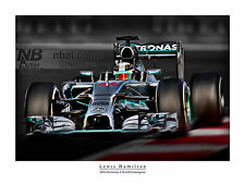 Lewis Hamilton 2014 F1 CAMPIONE DEL MONDO STAMPA ARTISTICA DIGITALE
