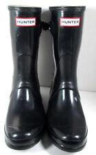 HUNTER Original Gloss Short RAIN BOOTS Shoes Black Mid Calf Womens 8