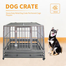 """36""""*24""""*30"""" Heavy Duty Metal Dog Crate Pet Kennel Cage Playpen with Tray Castor"""