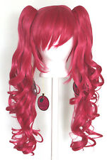 23'' Curly Pig Tails + Base Deep Pink Cosplay Wig NEW