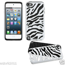 Apple iPod Touch 5 Zebra Fusion Hybrid Case Skin Cover Accessory White Black
