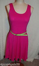 JR Womens Knit Tank Top Dress PINK Lime Green Belt BOW BACK M 7-9 Above Knee