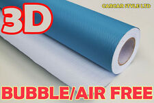 【LIGHT BLUE 3000MM X 750MM AIR Free】CARBON FIBRE Vehicle Wrap Vinyl Sticker