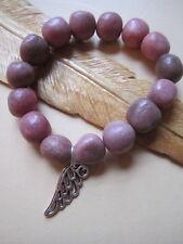 Rhodonite Chunky Elasticated Gemstone Bracelet Tibetan Silver Angel Wing OSFA