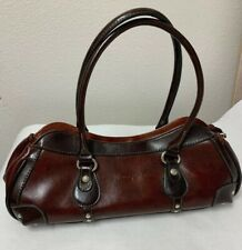 Rina Rich Handbag Brown Leather Zip Purse Satchel Lined Silver Hardware