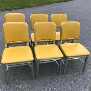 1960s Vintage EMECO YELLOW NAVY OFFICER SIDE CHAIR -MCM, Mid Century, Industrial