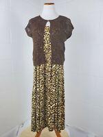 Jones New York VTG 1990s Style Leopard Print Animal Print Two Piece Dress Size M