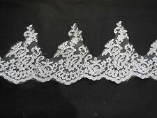 Ivory Floral lace trim Bridal Wedding veil or dress hemming lace trim Per Yard