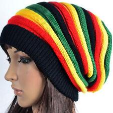 Women's Winter Striped Warm Knitted Crochet Jamaican Slouchy Baggy Beanie Hat