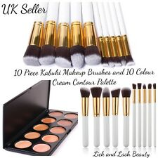 Pro Cream Contour And Highlight Palette And 10 Piece Pro Kabuki Makeup Brushes G