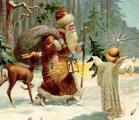 c 1904 Brown Coat Santa Claus St Nick Angel Deer Toys Woodland Cabin Postcard