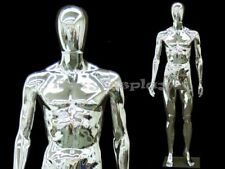 Adult Male Full Body Chrome Removable Egg Head Mannequin with Base