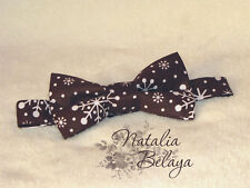Cotton Mens Bow tie Brown Polka dot with Snowflackes Pre tied Handmade Bow tie