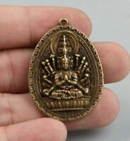 42MM Chinese Bronze Exquisite Buddhism 1000 Hand Kwan-yin Amulet Pendant Statue