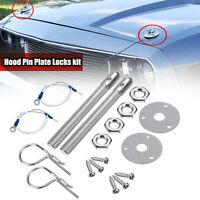 Universal Car Racing Style Aluminum Alloy Mount Hood Pin Plate Bonnet Lock