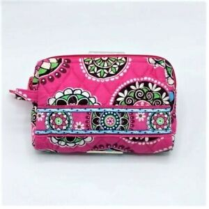 Vera Bradley Hot Pink Medallion Cosmetic Make Up Bag Zip Closure Plastic Liner