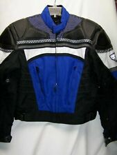 FirstGear First Gear Leather-Tex Speed Motorcycle Jacket Black Blue White MEDIUM