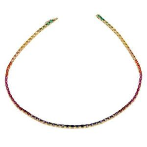 """Absolute Golden Simulated Colors of Sapphire Rainbow Line 18""""L Necklace HSN $400"""