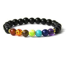 Bracelet d'harmonisation, 7 perles, 7 chakras et agate noire en brillant, neuf