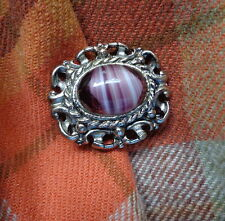 "Vintage SCOTTISH Pewter Brooch Striated Purple Glass ""Agate"" Celtic Pin Super!"
