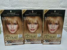 3 ~ Schwarzkopf Color Ultime Iconic Blondes 8.0 Medium Blonde Permanent Dye Read