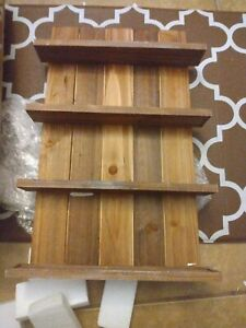 spice rack wall mount wood 4 tier. NEW hardware included. (L001)