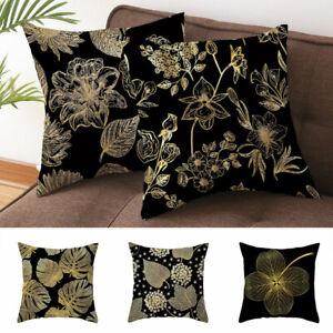 1PC Protector Gold Leaf Decorative Pillow Case Black Lumbar Peach Skin Velvet