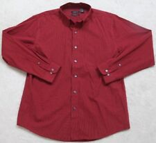 Van Heusen Dress Shirt Large 16-16.5 Red White Striped Long Sleeve Cotton Poly