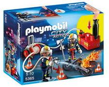 Playmobil Feuerwehrmänner+Löschpumpe Feuerwehr-Figuren Motorrad Feuerwehrleute