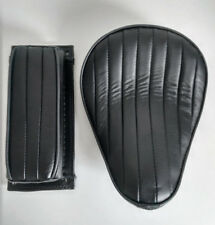 Solo Seat & Pillion Pad Leather Black Tuck n Roll for Harley Chopper Bobber