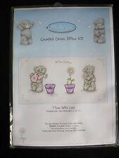 Anchor Tatty Teddy Cross Stitch Kit TT202 With Love Hearts Flowers 6x12