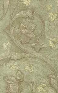 Leaf Pattern Wallpaper Green Brown Beige Faux Finish FE6948 D/Rs