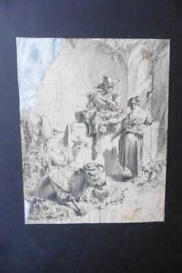DUTCH SCHOOL 17thC - ITALIANATE SCENE WITH SHEPHERDS ATTR. BERCHEM - INK DRAWING