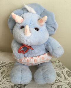 "Vintage Plush Baby Rhino Blue Pink W/ Pacifier Rhinoceros 13"" Pink Polkadots"