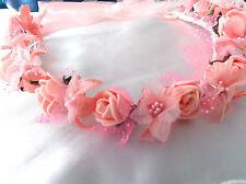 Peach Pink Flower Circlet - Wedding Halo, Flower Girl - by Valerie J