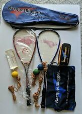 Racquet Slugger Pro 2069 Squash 2 Rackets 3 Balls 3 xtra Band Case RaquetSlugger