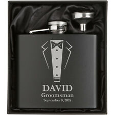 12oz Engraved Stainless Matte Black Hip Flask Funnel Gift Set Wedding Tuxedo