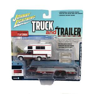 Johnny Lightning Truck & Trailer 1993 Ford F-150 Pickup Camper & Open Car Model