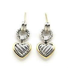 David Yurman Sterling Silver 18k Yellow Gold Dangle Cable Heart Earrings