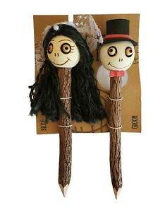 Crazy Head Pencils Set Of 2 Day of Dead  Bride & Groom and  Accessories Pouch