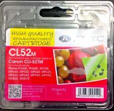 JET Tec Remanufactured CP52M (Canon CLI-521M) magenta inkjet Cartuccia 9 ML