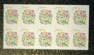 2013USA #4764 Forever Where Dreams Blossom - Block of 10 Mint Stamps love flower