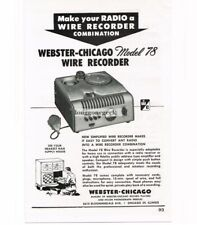 1948 Webster Chicago Model 78 Wire Recorder Vtg Print Ad