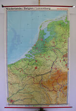 Schulwandkarte School Map Netherlands Paris 134x210cm 1978 Vintage