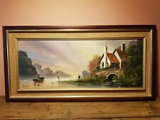 Kerris Cornish Constable Original Painting on Board River Fishing Lake Scene