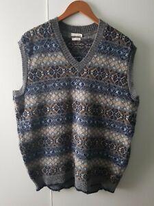 House Of Bruar Shetland Pure Wool Vest V Neck Body Warmer Winter Cosy Size L